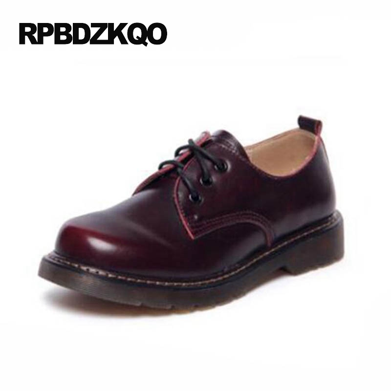 Japanese School Slip Resistant Ladies Large Size Round Toe 2017 Vintage Women Oxfords Shoes Red Wine Flats Lace Up 12 Beautiful pointed toe 2017 large size rivet ladies latest metal flats ankle strap red wine star pearl women beautiful shoes drop shipping