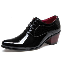 British Style Men Dress Shoes Patent Leather High Heel Oxfords Shoes Alligator Pointed Toe Wedding Shoes