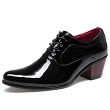 British Style Men Dress Shoes Patent Leather High Heel Oxfords Shoes Alligator Pointed Toe Wedding Shoes Moccasines XK040110