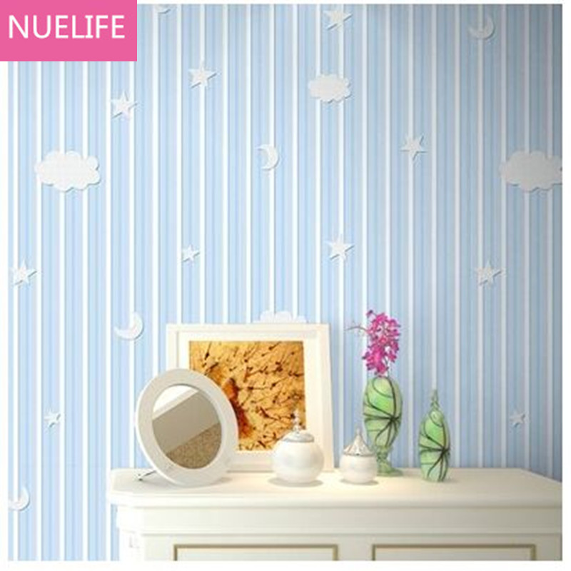 0.53x10 Meter Boy girl children room non-woven wallpaper vertical striped star moon pattern blue living room bedroom wallpaper free shipping young children s room bedroom wallpaper non woven boy toy room 5 3m2