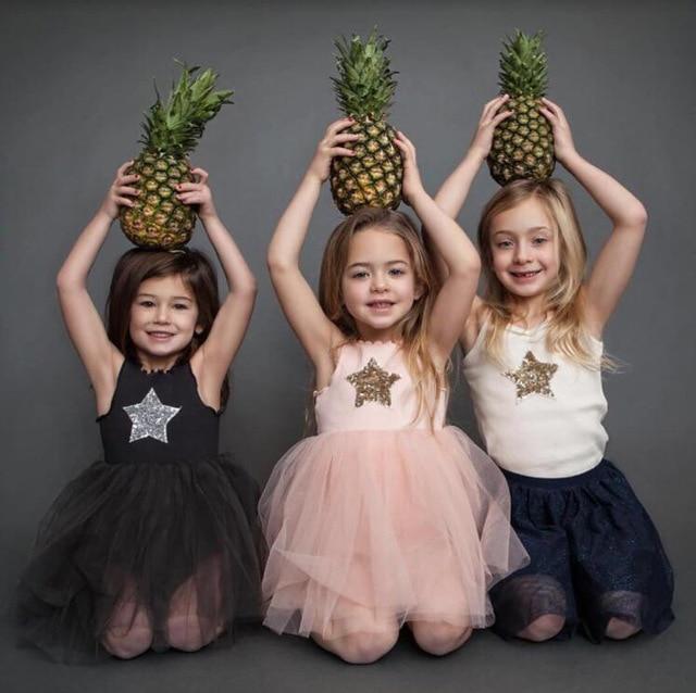 Marca o verão 2019 Crianças Vestidos Para Meninas Casual Wear Bling Estrela Vestido Da Menina Roupas Para Crianças Boutique Tutu Meninas Do Bebê Roupas