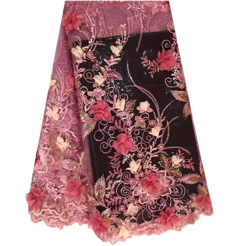 D flower embroidery tulle lace fabric colorful organza