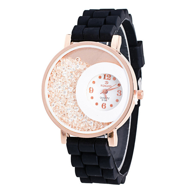 Brand Luxury Women Watches Lady Silicone Rhinestone Rhinestone Quartz Bracelet W