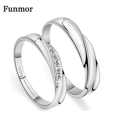 Funmor Water Wave 925 Sterling Silver Rings AAA Zircon For Bride Men Couple Wedding Banquet Decoration Accessories Fine Jewelry(China)