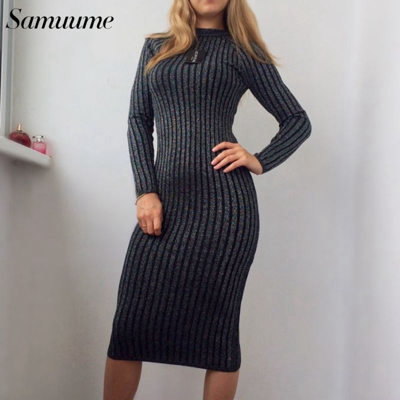 2e87f4c37ff Samuume Women Winter Warm Green Grey Knitted Dresses 2019 O Neck Long  Sleeve Bodycon Dress Pencil Midi Sweater Dress A1709028-in Dresses from  Women s ...