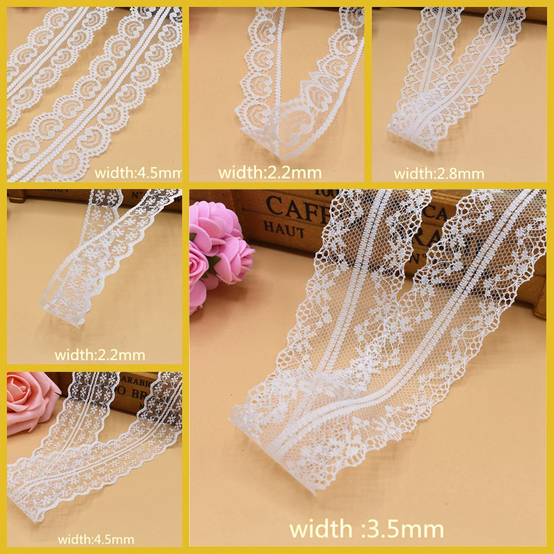 New White 10 Yards of Beautiful Lace Ribbon Tape DIY Embroidered Net Jewelry Wedding Dress Clothing Accessories Lace Fabric