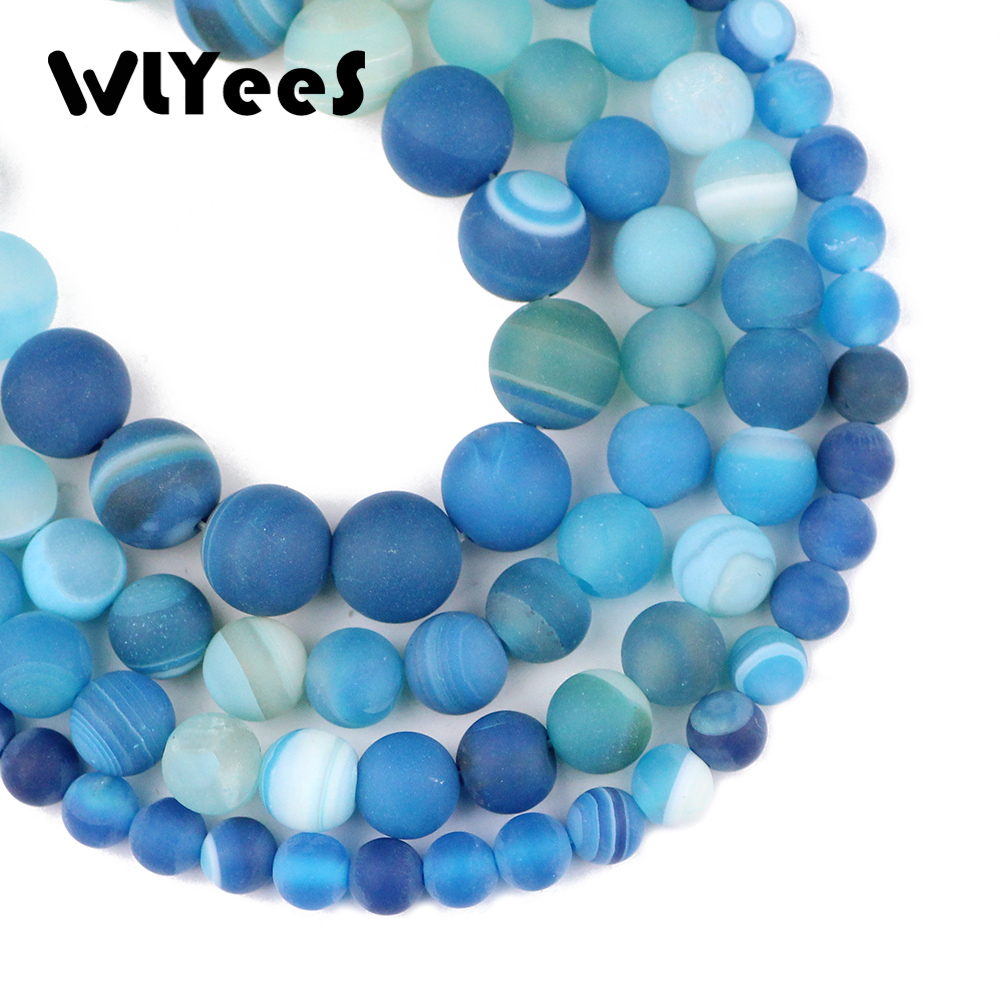 Beads Jewelry & Accessories Wlyee Natural Stone Matte Lake Blue Stripe Carnelian Beads 6 8 10 Mm Round Loose Bead For Jewelry Bracelet Making Diy Accessory Bright And Translucent In Appearance