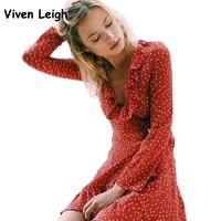 Women Ruffle V Neck Long Sleeve Polkadot Print Summer Dress Vintage Red Irregular Bow Tie Wrap