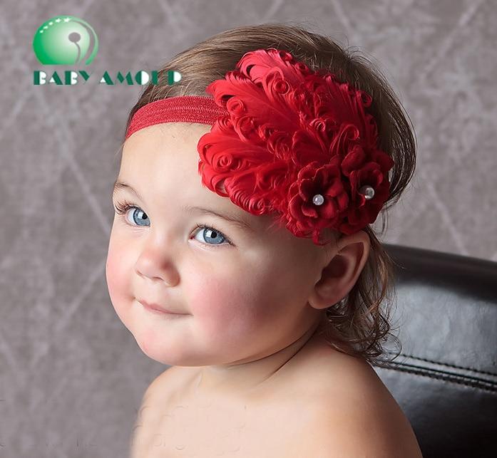 2019 diademas de bebé bonitas de plumas de pelo Rosa