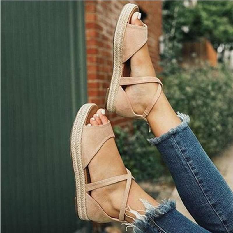 HTB1Cwz2binrK1Rjy1Xcq6yeDVXav LAAMEI 2019 New Women Sandals Fashion Peep Toe  Design Roman Sandals Women Flat Shoes Summer Beach Ladies Shoes Sandals