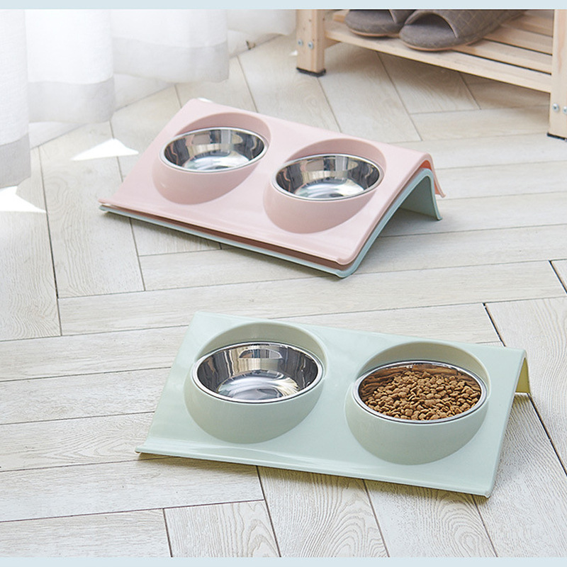 Dual Use Pet Bowl Food Class Plastic Stainless Stainless Pet Kitten Double Bowl Pot Sputtering Cat Feed