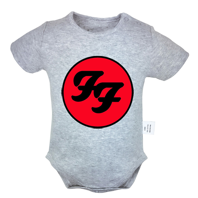 Foo Fighters Hard Rock And Roll Band Printed 6-24M Newborn Baby Girl Boys Short Sleeve Romper Jumpsuit Outfits 100% Cotton Sets