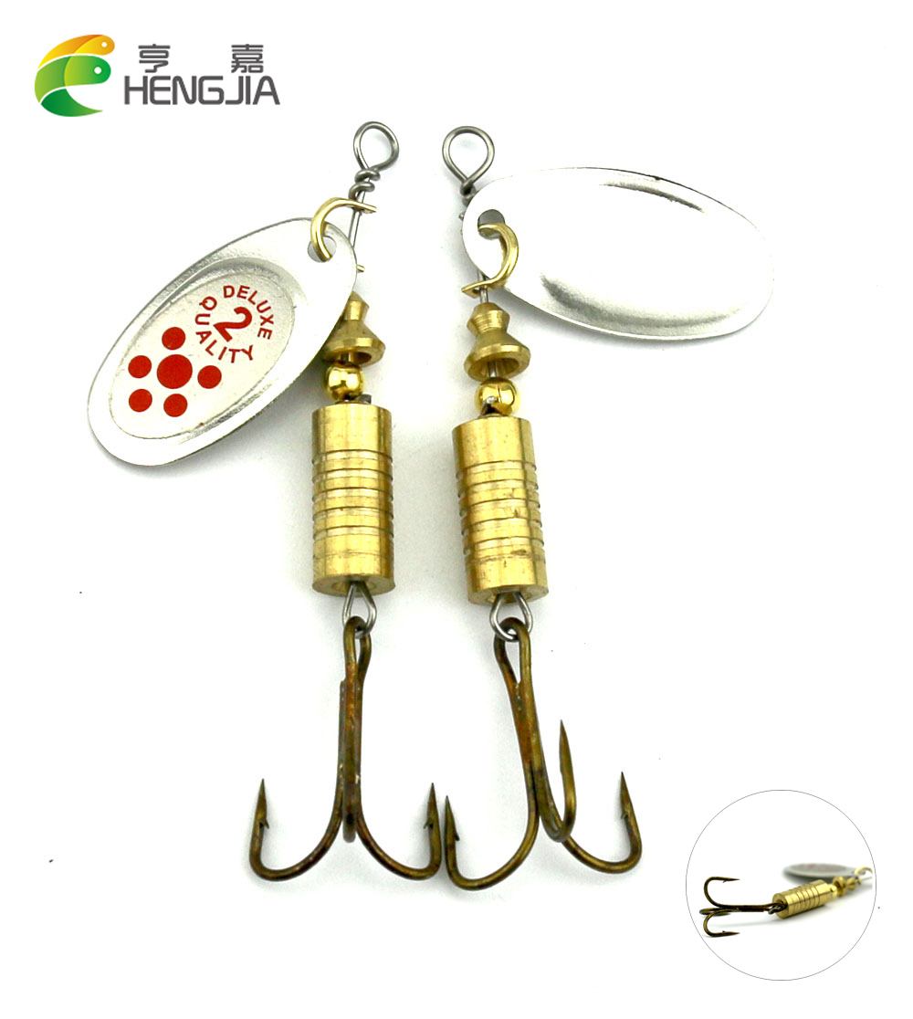 HENGJIA 2 Colors 6.7cm 7.3g Metal Spinner Spoon Trolling Fishing Lures Pike Trout Catfish Fishing Baits Pesca Fishing Tackle