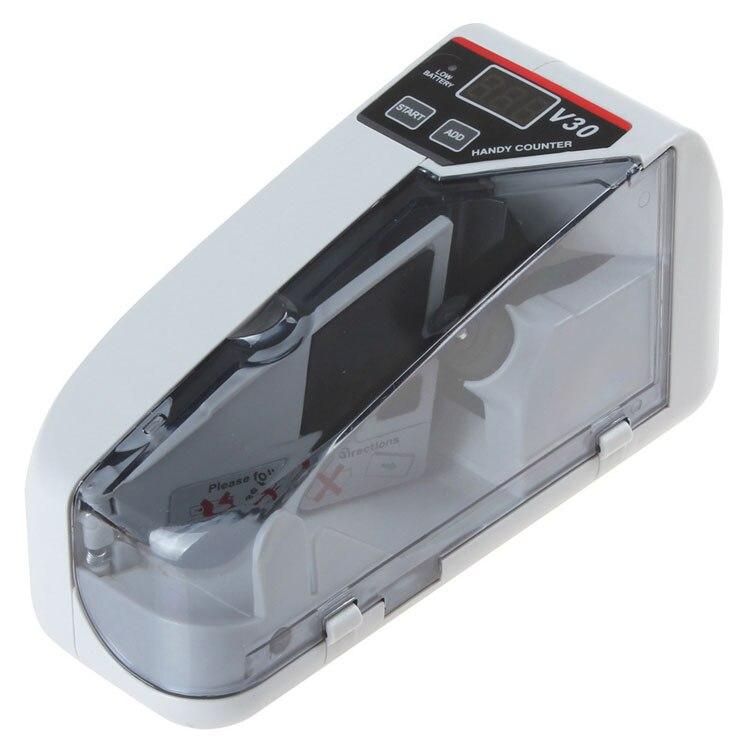 Mini máquina de conteo de monedas manual de billetes en efectivo contador de billetes de CA o con batería para dinero falso dólar UE EE. UU. Reino Unido - 6