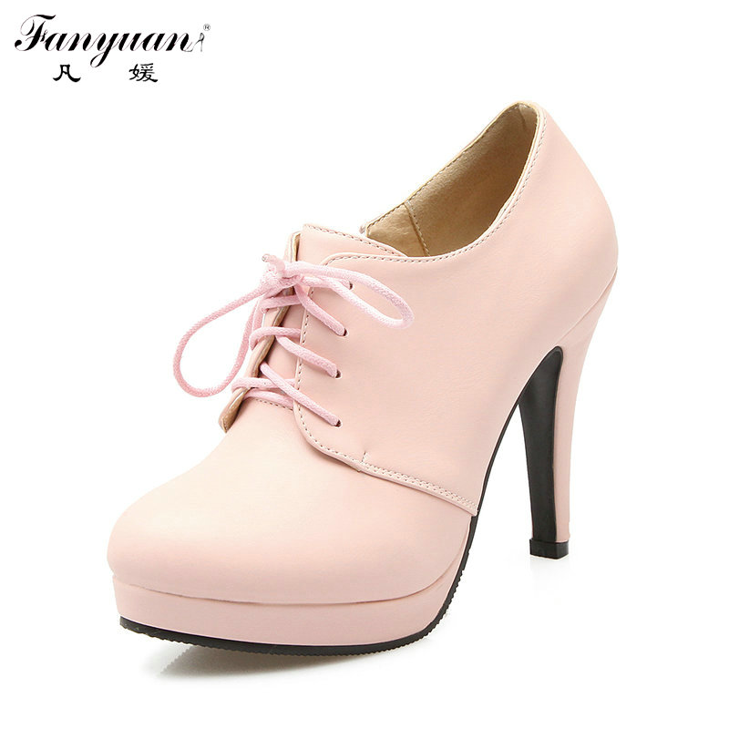 ФОТО Fanyuan Hot PU Leather Casual Pumps Women Shoes Platform Thin High Heel Pumps 2017 Spring Female Lace Up Zip Bootie Big Size 43