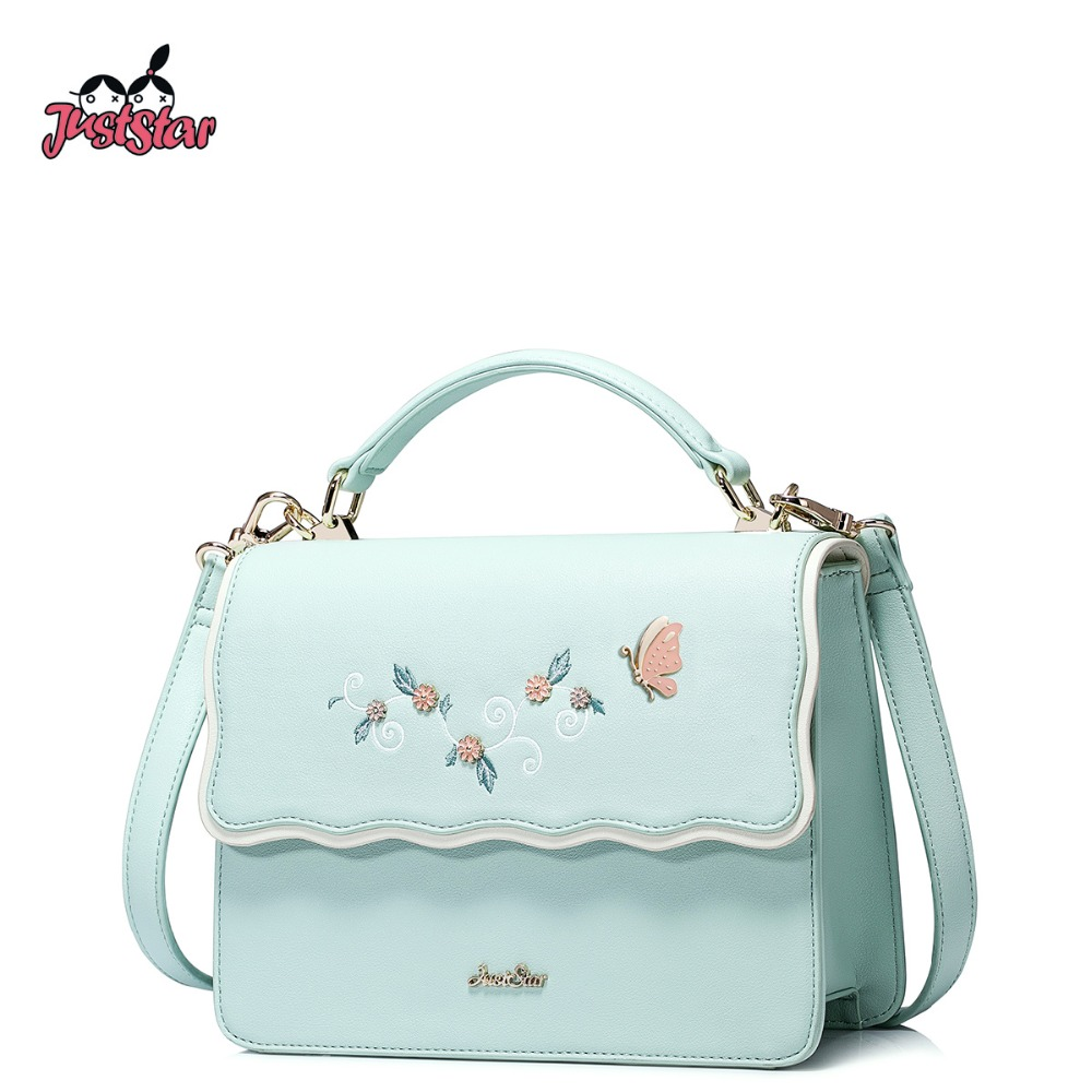 JUST STAR Women PU Leather Handbags Ladies Embroidery Butterfly Shoulder Tote Pu