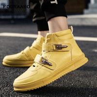 2018 New Luxury High Top Mens Casual Shoes Flats Autumn Hip Hop Male Footwear High Top Men Sneaker PU Leather Shoes