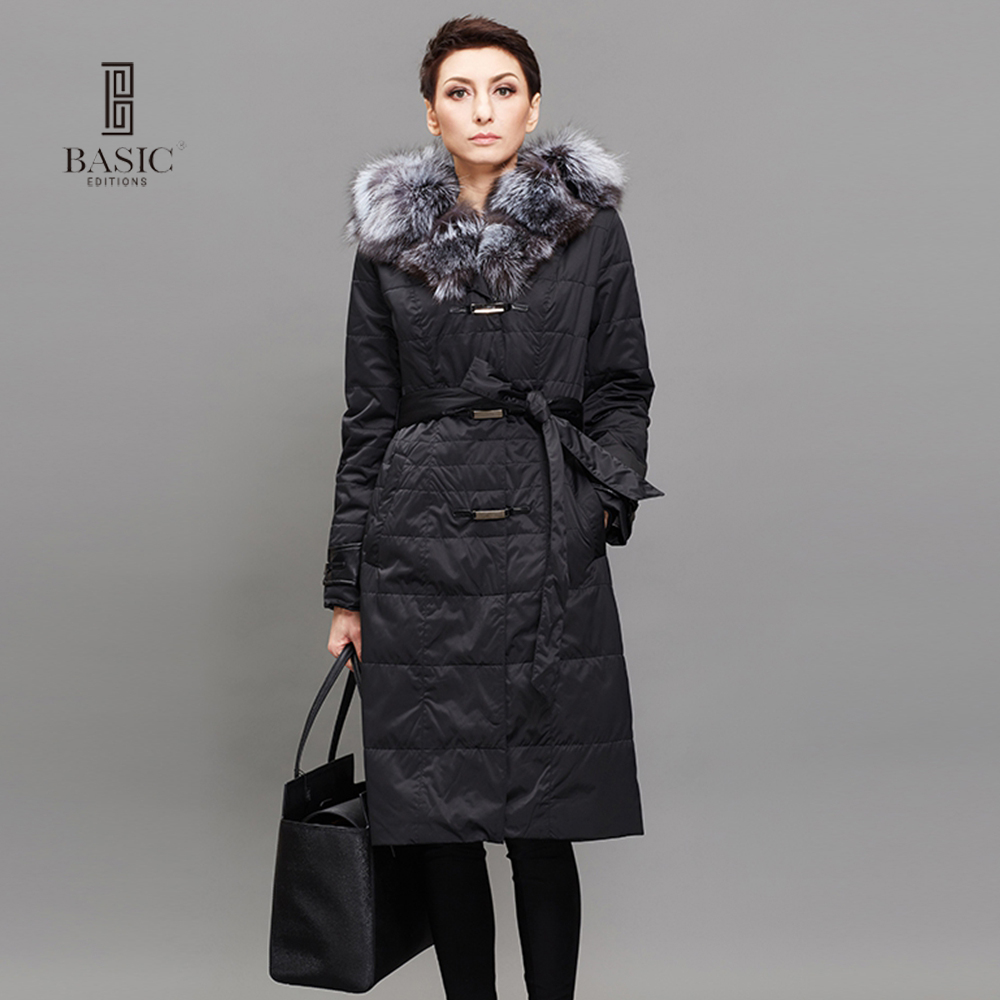 BASIC EDITIONS Women Long Down Jacket Winter Duck Down Jackets Slim Long Sleeve Fur Collar Warm Winter Coat Parkas M-7XL 14WY-36 2015 winter thicken warm woman down jacket tan fur collar coat parkas outerweat slim luxury brand mid long cloak 2xxl black