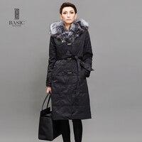 BASIC Women Long Down Jacket Winter Duck Down Jackets Slim Long Sleeve Fur Collar Warm Winter