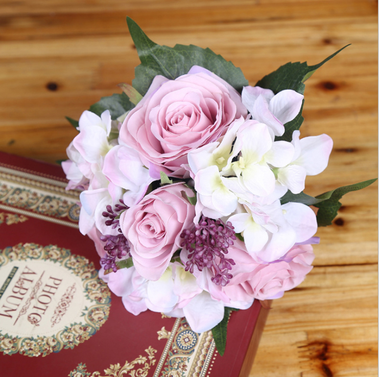 cheap flowers for wedding bouquet silk flower wedding bouquet roses dahlias artificial 2604
