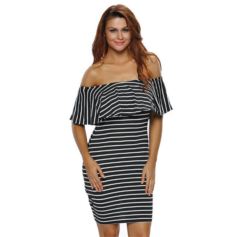 <font><b>Sexy</b></font> Striped <font><b>Dresses</b></font> <font><b>2018</b></font> <font><b>Summer</b></font> Slash Neck Black White <font><b>Women</b></font> Off shoulder Bodycon <font><b>Dress</b></font> Vestidos Short Sleeve <font><b>Boho</b></font> <font><b>Dress</b></font> image