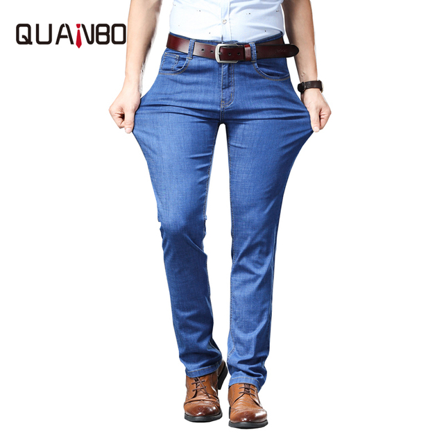 72248a513cc QUANBO Brand Plus size 46 Stretch jeans 2019 New Summer Thin Light blue Trousers  Slim fit Straight Business Casual Denim Pants