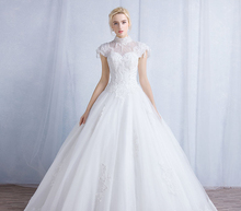 Ball Gown Wedding Dress Short Sleeve High Neck Applique Beading Lace-up Long Vestido De Noiva NM 759