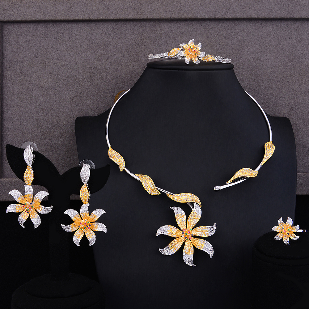 GODKI Exclusive Party Queen Flowers 4PCS Nigerian Jewelry Set For Women Wedding Zircon Indian African Bridal Jewelry Set 2018