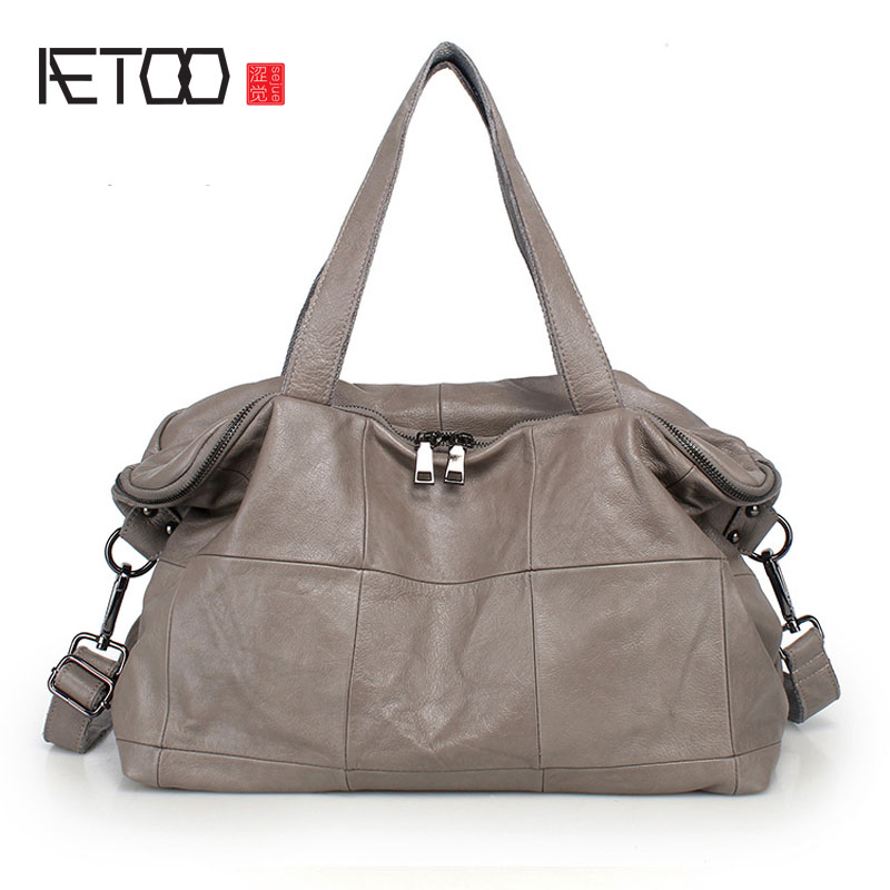 AETOO New ladies bag large capacity casual leather handbags first layer of leather big bag oblique bag ladies shoulder bag aetoo new first layer of leather men s shoulder bag leather male package cross section oblique cross bag japanese and korean ver