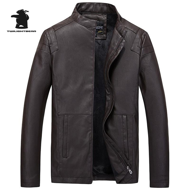 New Winter Mens Leather jacket Fashion Slim Stand Collar Casual PU Biker Jacket Men Bomber Jacket Leater Coats M ~ 3XL DB8F605