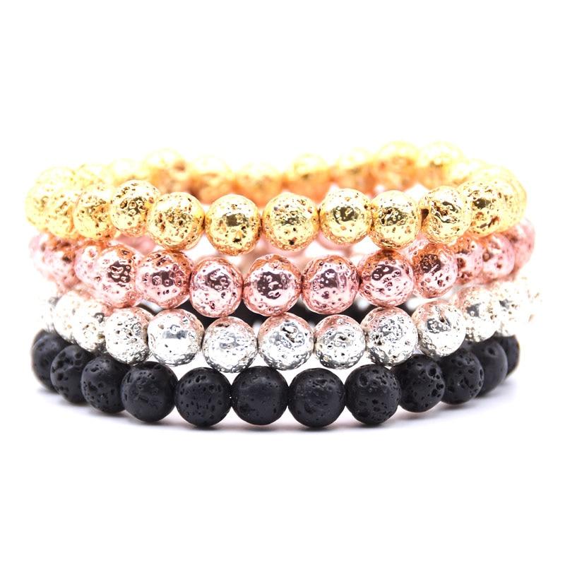 HYHONEY 4 color 8mm beads Lava Natural stone Bracelet men Charms Bracelets & Bangles Men jewelry pulseras