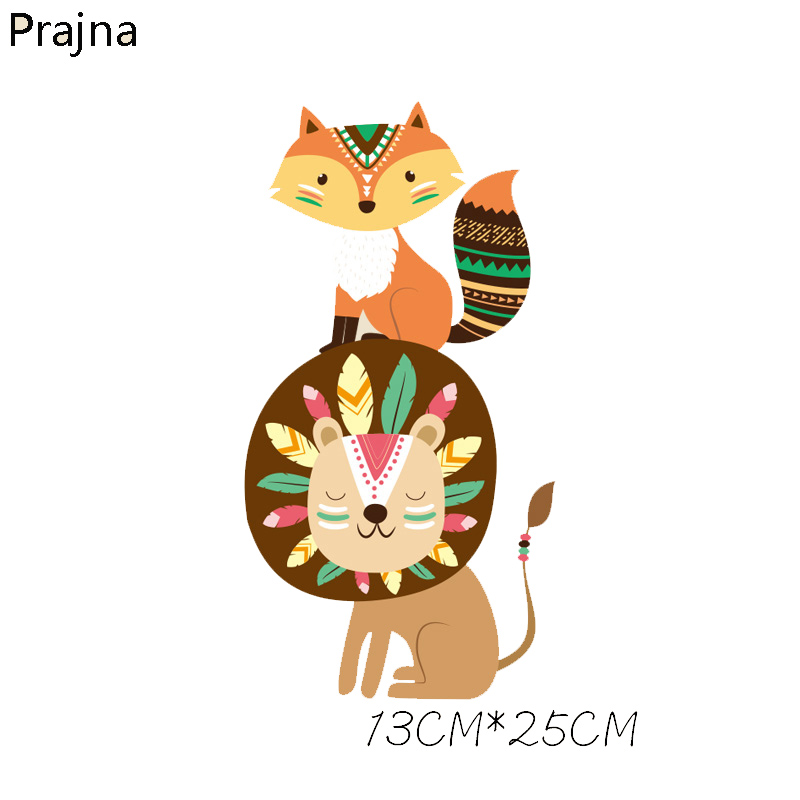 Prajna Lion Fox Cartoon Patch Iron On Transfers Hot Heat Vinyl Thermal Transfers For T Shirt Clothing Fabric DIY Badge Applique