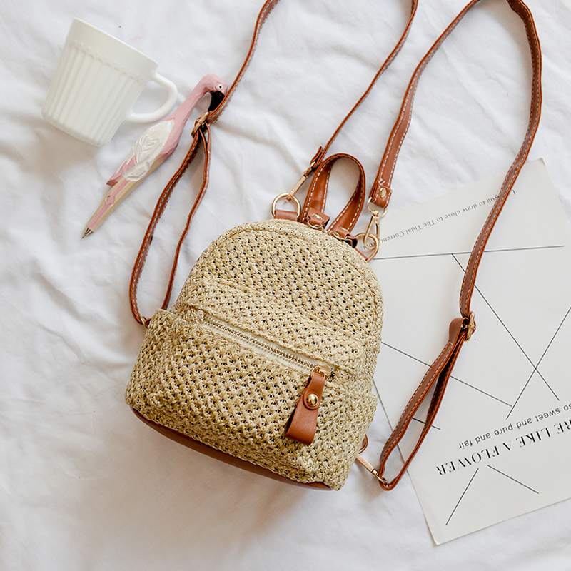 2018 New Fashion Women Backpack Mini Bag Straw Weave Beach Bag Travel Hand bags Luxury Designer Shopping Bags