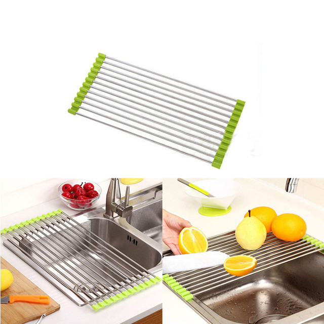 mayitr foldable kitchen sink rack stainless steel drying storage holder fruit cup dish sink rack drying. beautiful ideas. Home Design Ideas