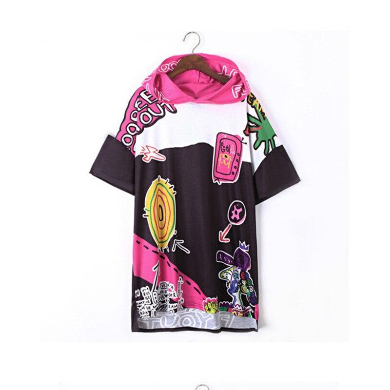 2018 New Harajuku Summer Fashion Long Sweatshit Women plus size Loose Tops Vestidos Printed Letter Hip Hop Dance Clothes Women