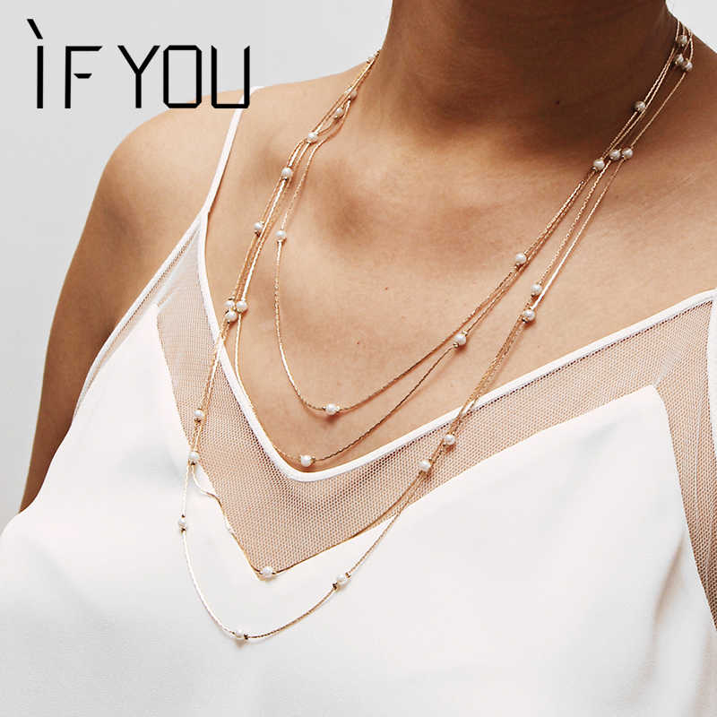IF YOU Simple Multilayer Charm Simulated Pearl Necklace For Women Vintage Beads Choker Necklaces Wedding Party Jewelry 2019 New