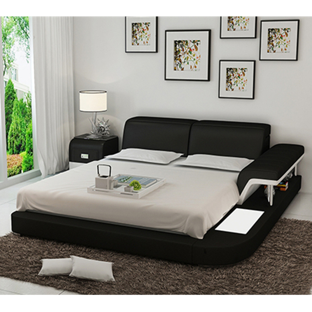 0413 Lb8806 Simple Modern Furniture Latest White Leather Double Bed