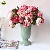 13 Heads Pretty Wedding Artificial Flowers Silk Flower Bouquet Peony Silk Decorative European Fall Vivid For