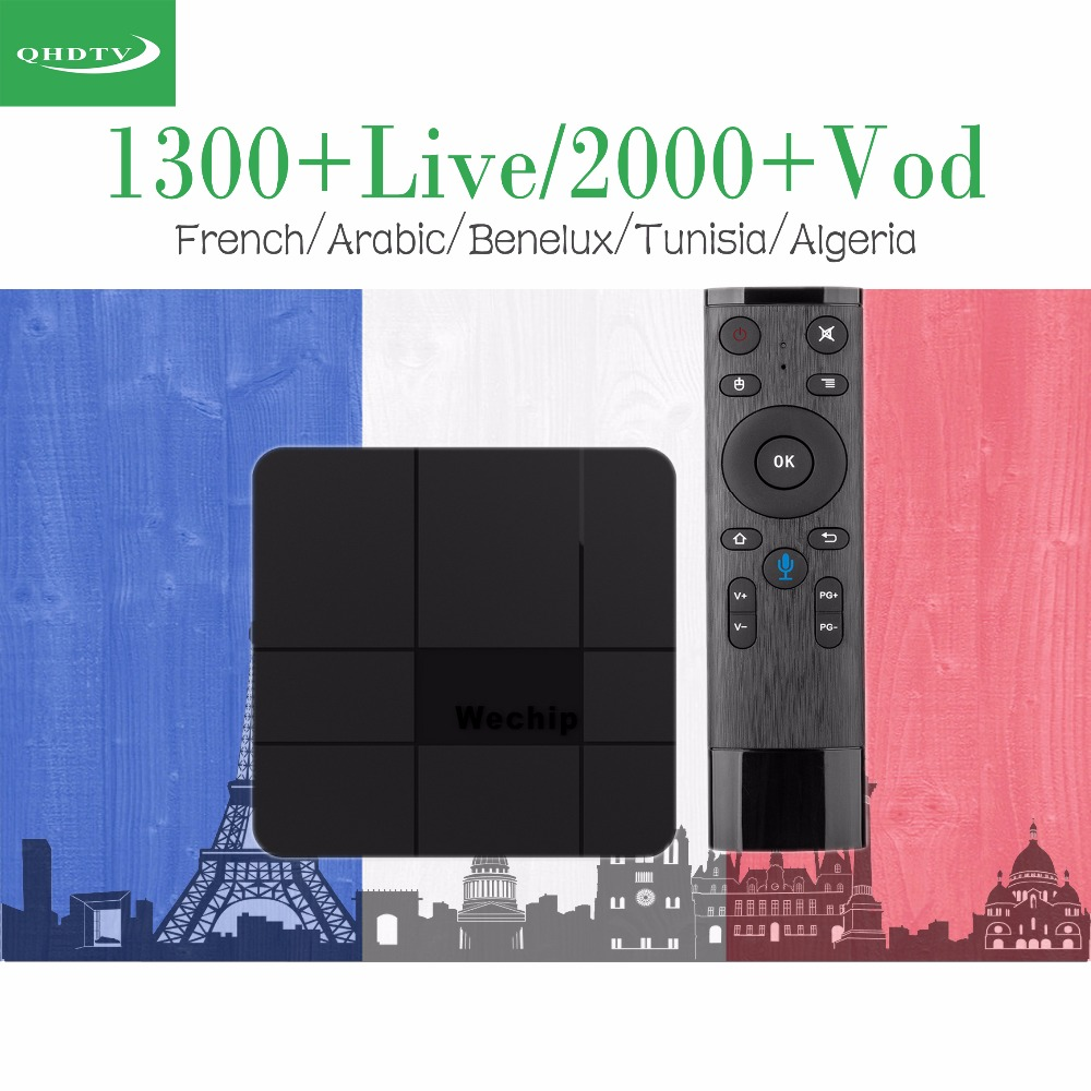 Wechip V8 Plus AndroidTV 7.1 TV Box 1 Year QHDTV Account French Benelux Arabic IPTV Channels Set top box Google Voice control