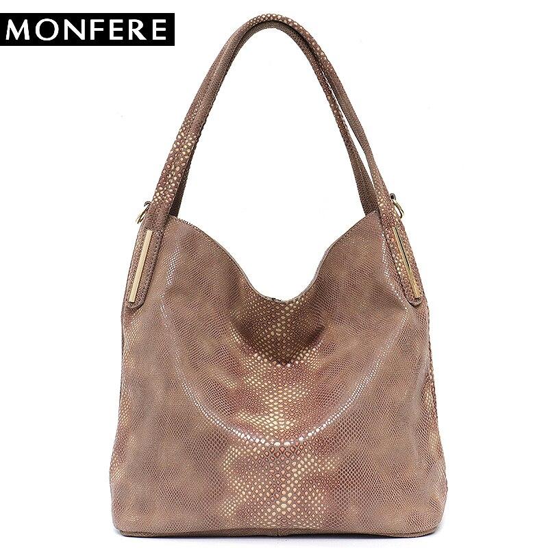 MONFERE бренд для женщин пояса из натуральной кожи Хобо сумки Женский Классический змеиный принт узор Tote Дамы змея сумка