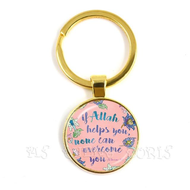 Si Dios te ayuda, ninguno puede superarte llavero para hombres mujeres árabe musulmán islámico Dios de los llaveros de ala regalo de joyería religiosa