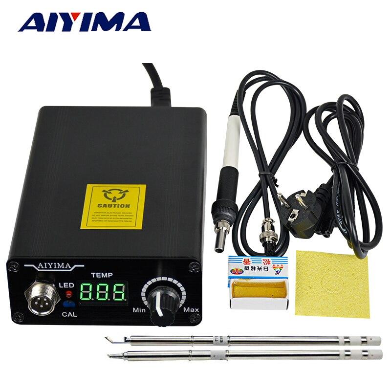 Aiyima 110 V 220 V T12 Ferro Stazione di Saldatura Digitale Regolatore di Temperatura Spina di UE + T12 Maniglia + T12-BCM2 e Punte T12-K