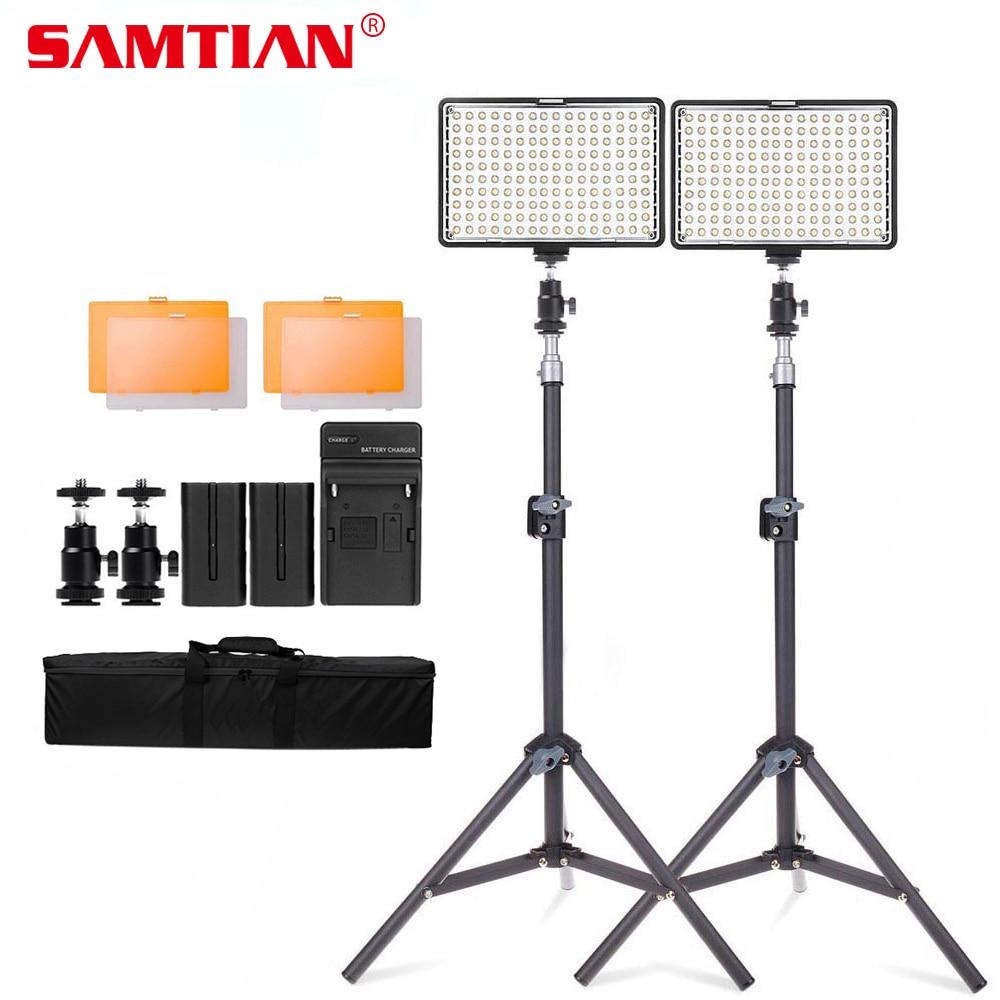 SAMTIAN 2Sets LED Video Light Photography Lighting Kit 160 LED Camera Photo Studio Light Lamp For Canon Nikon DSLR Camera стоимость