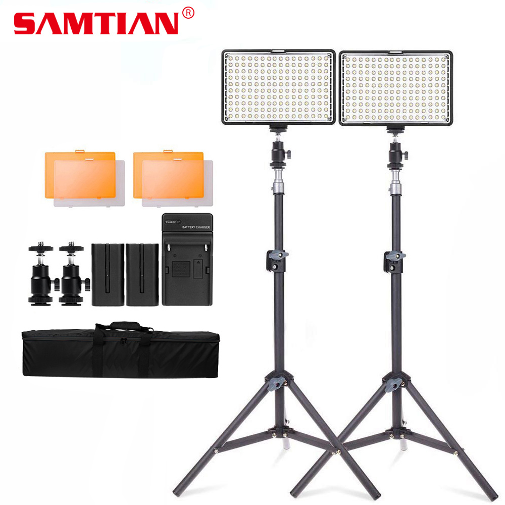 SAMTIAN TL-160S 2 Kit LED Video Light for Photography Video Studio Light With Tripod Dimmable 3200K/5600K Led Photo Lamp все цены