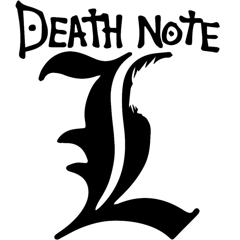 16x13 7cm Death Note L Originality Vinyl Decal Black Silver Car