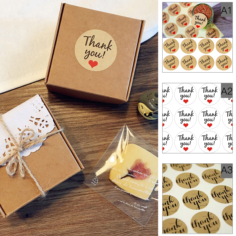60 stks / 5 vellen dank u zelfklevende stickers diy party gift bags box tags decoratie kraftpapier sealpasta P30