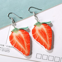 Cute Large Fruit Earrings Strawberry Pineapple Drop Dangle Hook Earrings Women Jewelry Pendant Statement Dainty Gift #35(China)
