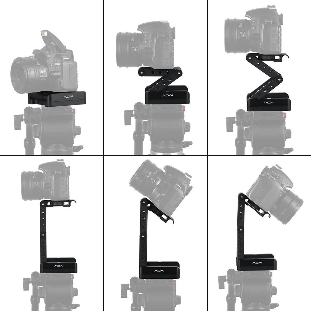 Andoer Z Shaped Flex Tilt Tripod Head 360 Degree Quick Release Plate Stand Mount Level for