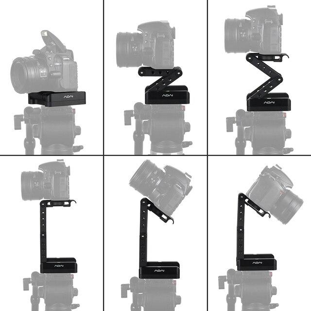 Andoer z shaped Flex Tilt głowica statywu 360 stopni płyta szybkiego uwalniania stojak do montażu na stojaku Canon Nikon Sony Pentax lustrzanka cyfrowa