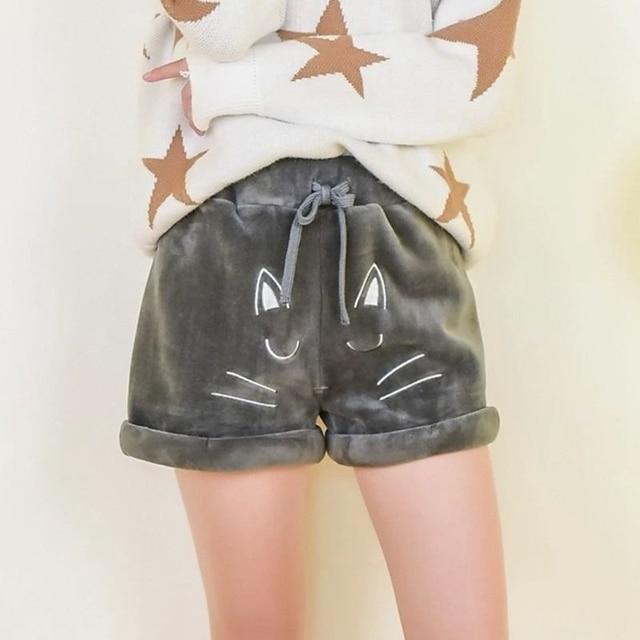 1pc Mori Girls Cute Cat Pattern Casual Winter Shorts Grey/Black